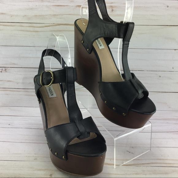 e4cf4977085 Steven Madden Wyliee Black Wedge Heels size 10